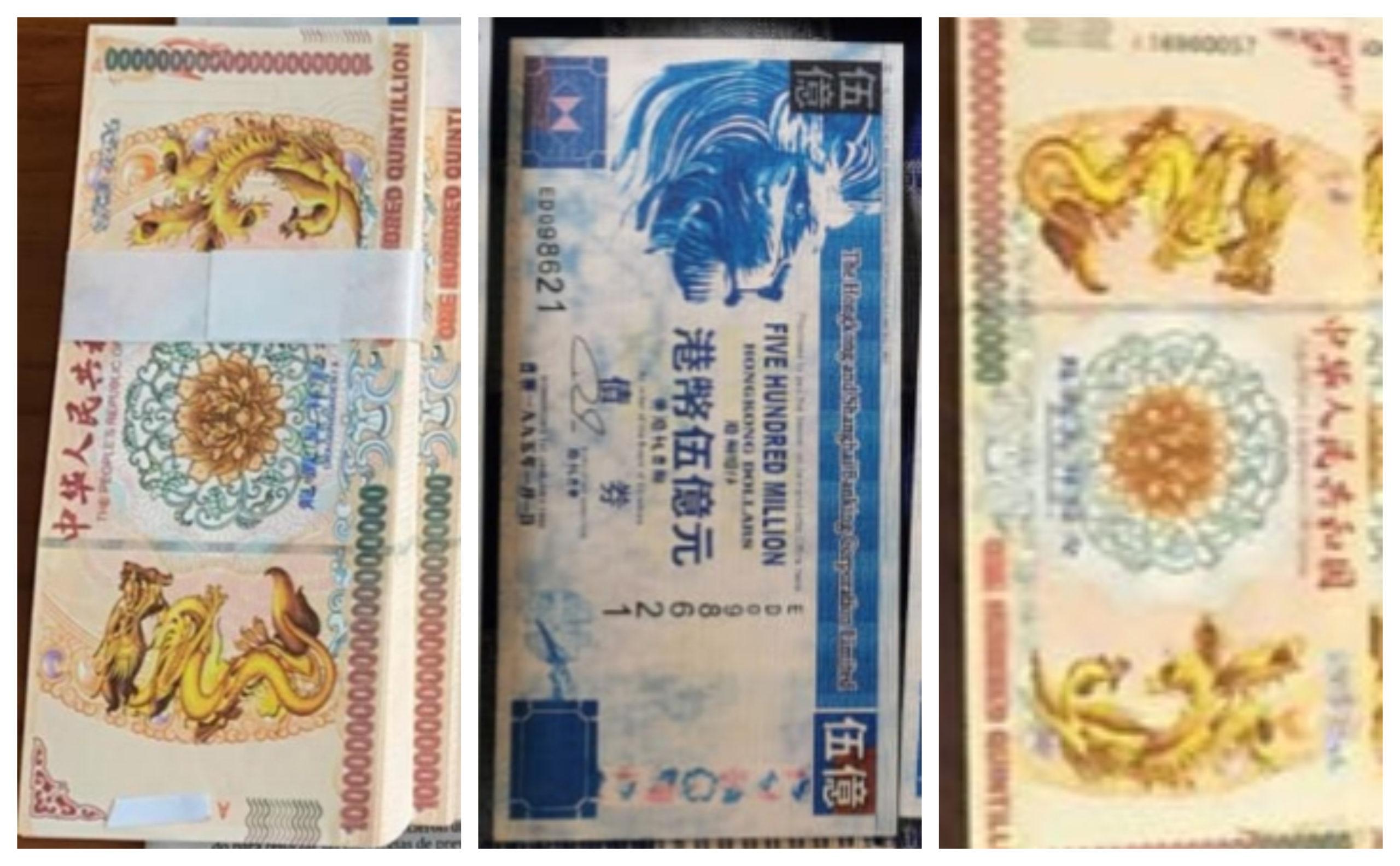 se compran billetes chinos Leones Azules y Dragones Amarillos